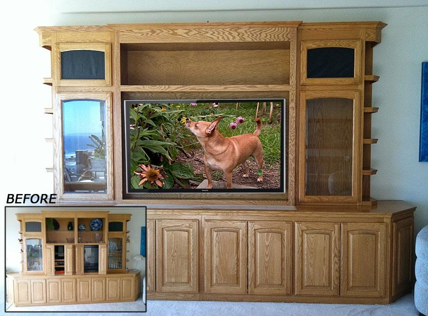 Upgrade Oak Wall Unit To Accommodate Large Flat Panel Tv Throughout Best And Newest Oak Tv Cabinets For Flat Screens (Photo 5061 of 5778)