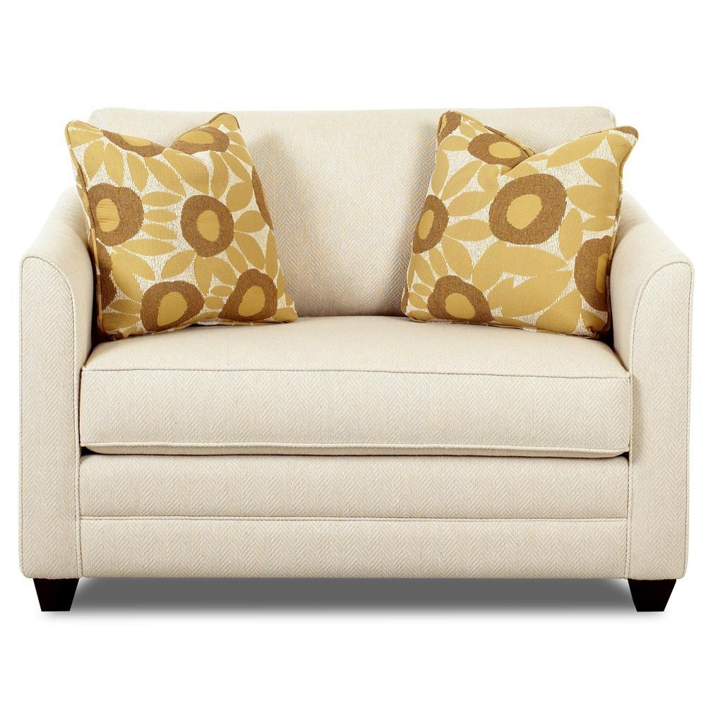 Upholstered Chair Sleeper With A Twin Mattressklaussner | Wolf Within Loveseat Twin Sleeper Sofas (View 3 of 20)