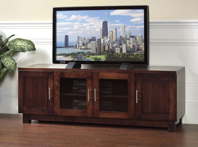 Urban 2 Glass Door Tv Stand In Solid Hardwood - Ohio Hardwood inside Newest Wooden Tv Stands With Glass Doors