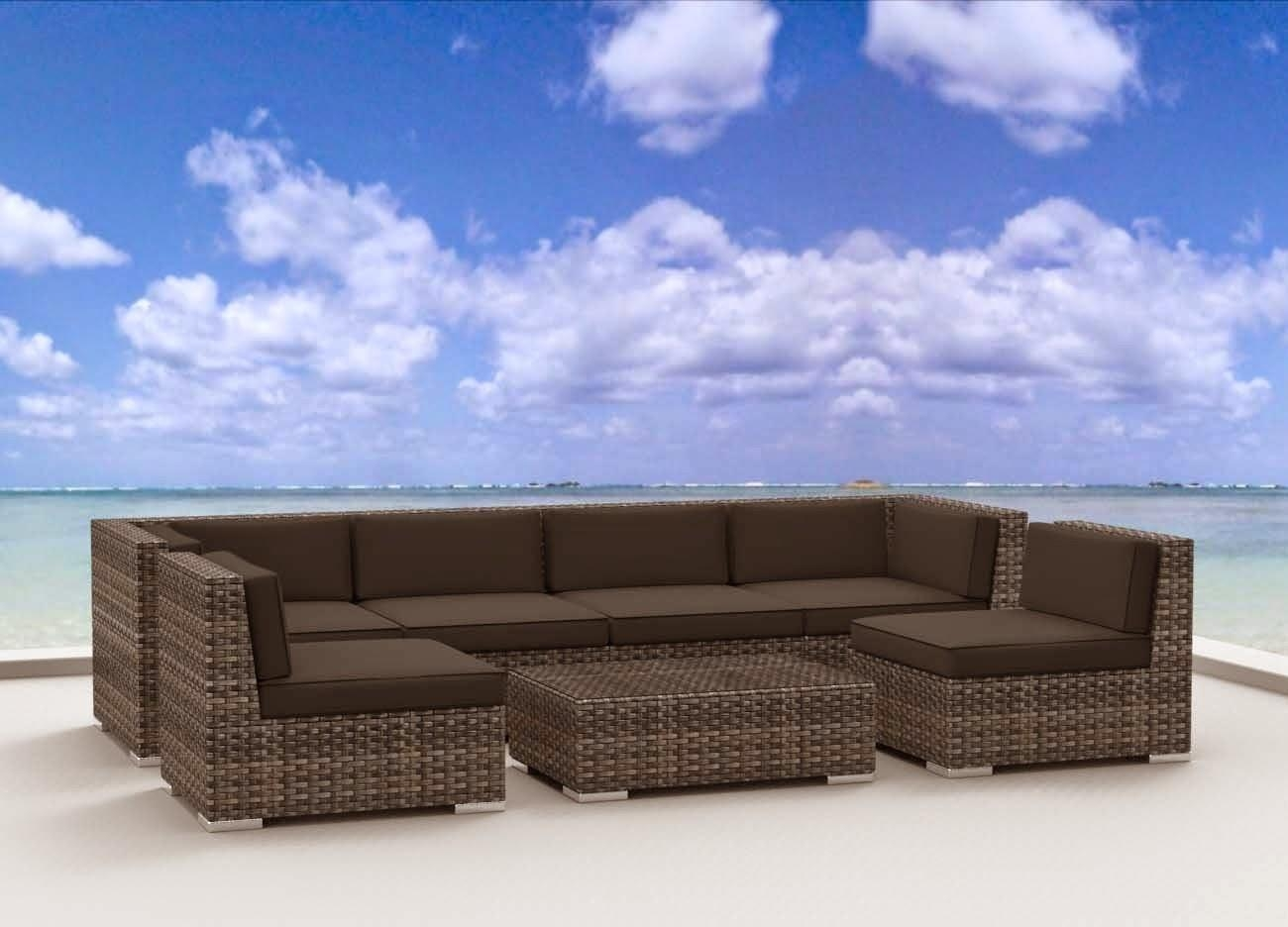 Urban Furnishing Modern Outdoor Backyard Wicker Rattan Patio With Modern Rattan Sofas (Image 22 of 23)