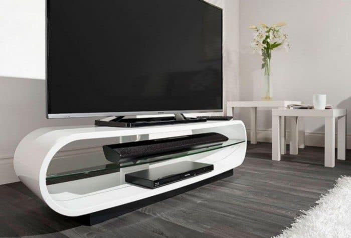 Useful And Stylish Tv Stand Furniture | Wearefound Home Design Regarding Most Recent White Glass Tv Stands (Image 19 of 20)