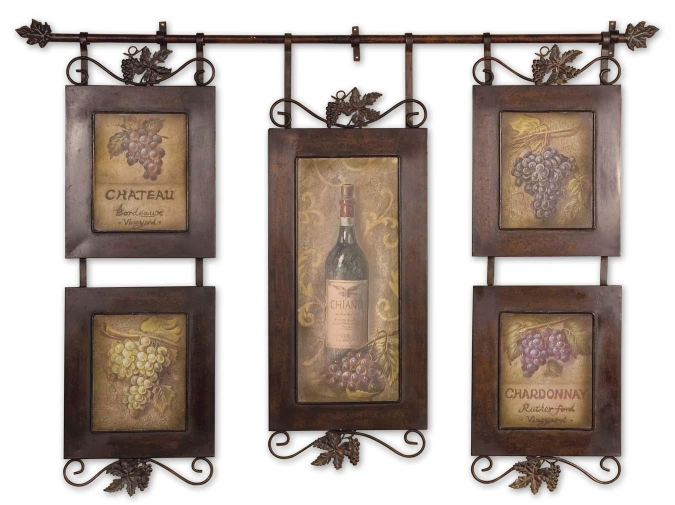 Uttermost Hanging Wine Framed Art 50791 pertaining to Vintage Italian Wall Art