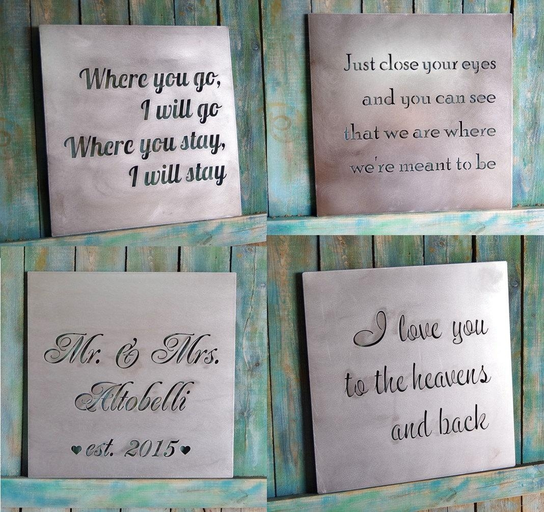 Valentine Gift Custom Metal Quote Sign And Sayings With Regard To Metal Wall Art Quotes (View 1 of 20)