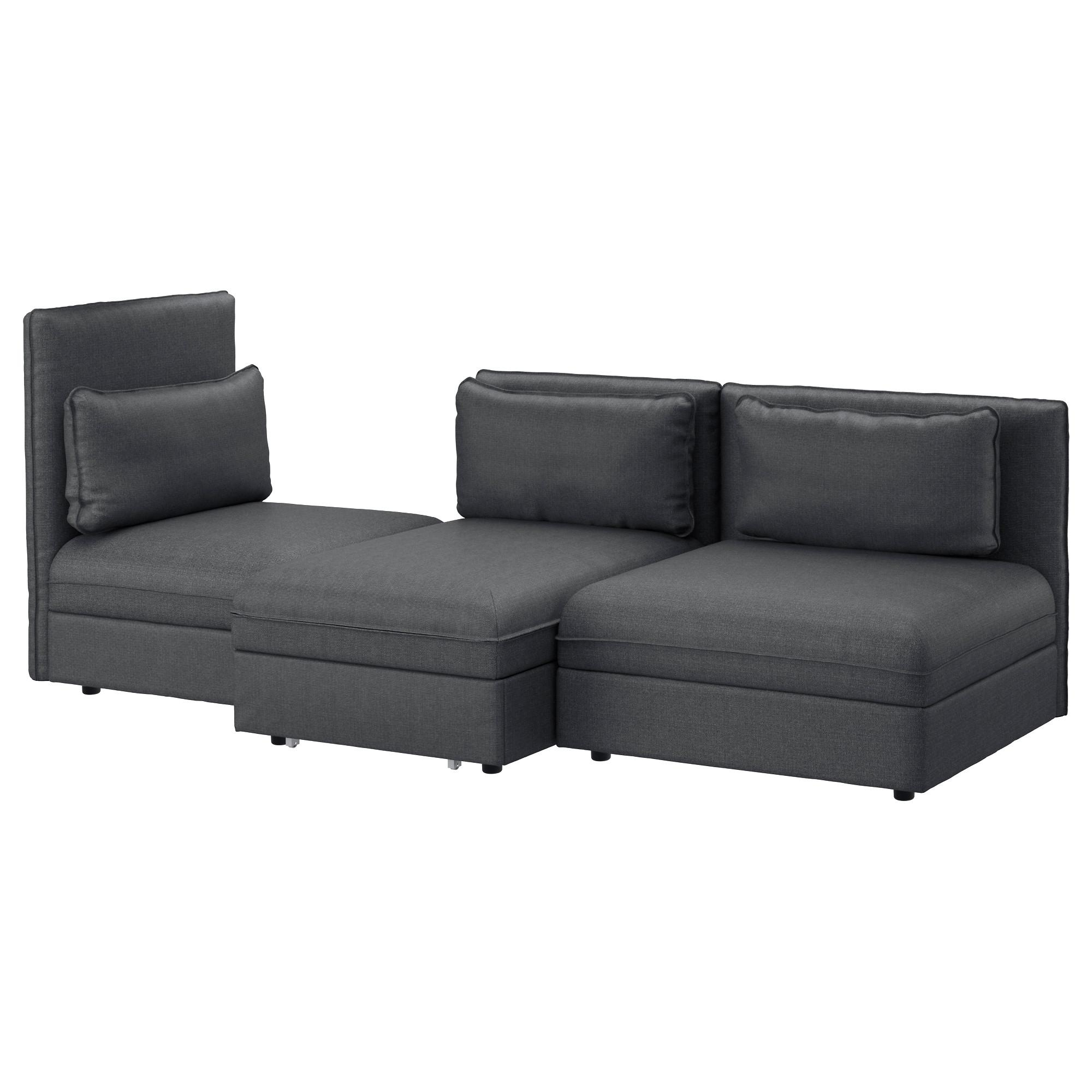 Vallentuna 3-Seat Sofa With Bed Hillared Dark Grey - Ikea inside Sofas With Beds