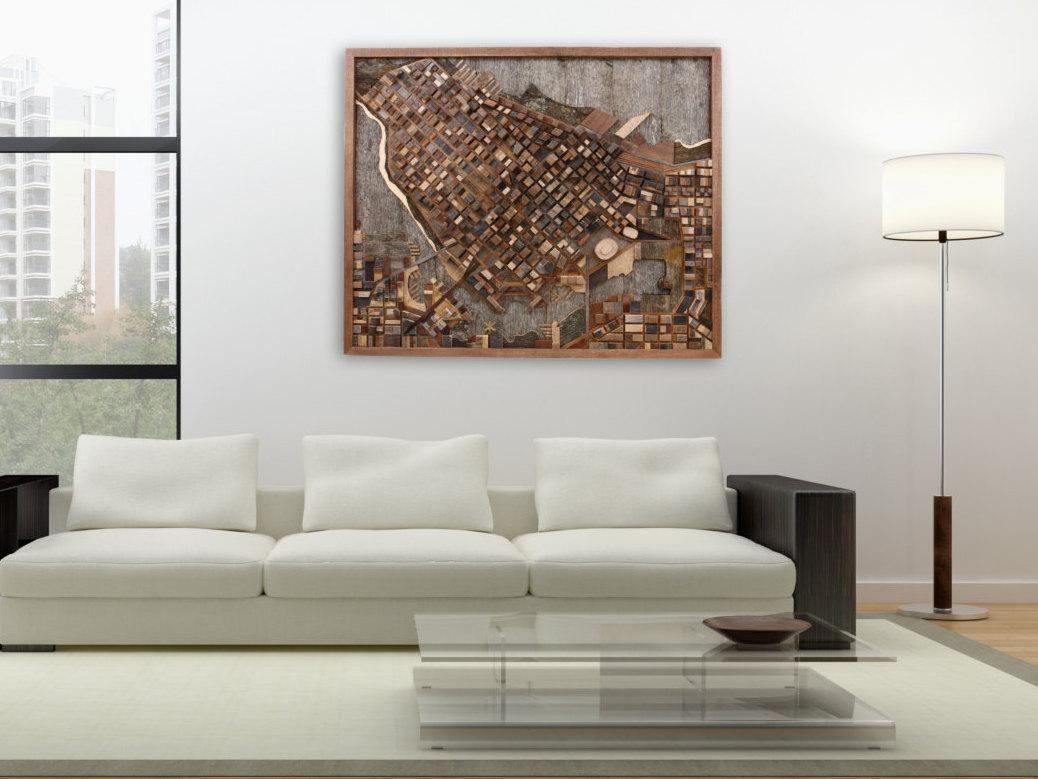 Vancouver Cityscape Wood Wall Art Made Of Old Reclaimed Barn Throughout Art For Large Wall (View 12 of 20)