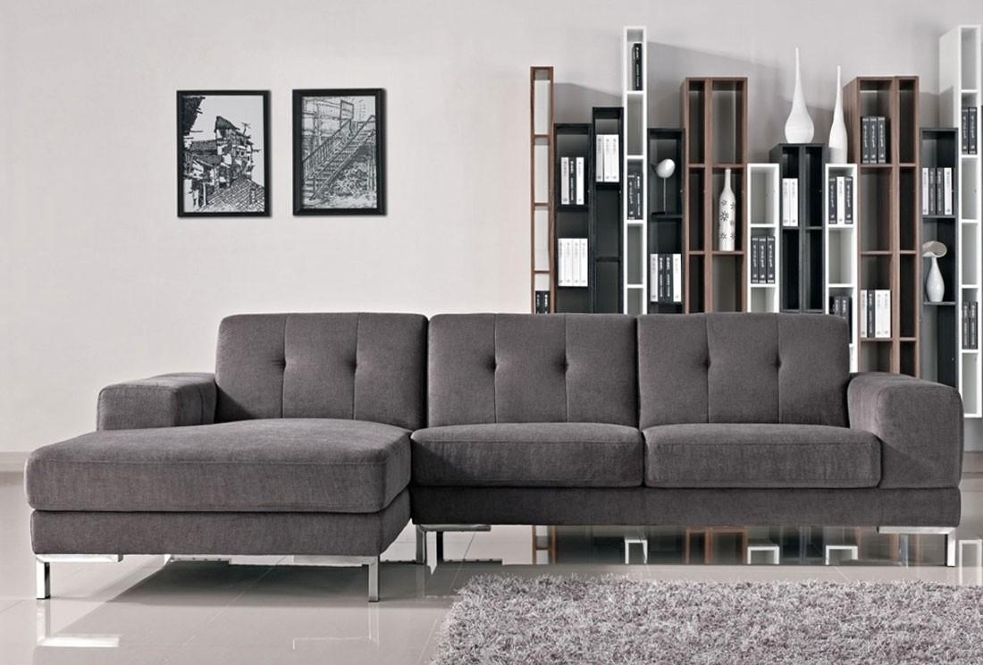 Vanda Grey Fabric Modern Sectional in L Shaped Fabric Sofas