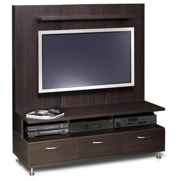 Varnished Wood Tv Cabinet With Chrome Legs With White Stain Led Tv For Most Recently Released Led Tv Cabinets (Image 20 of 20)