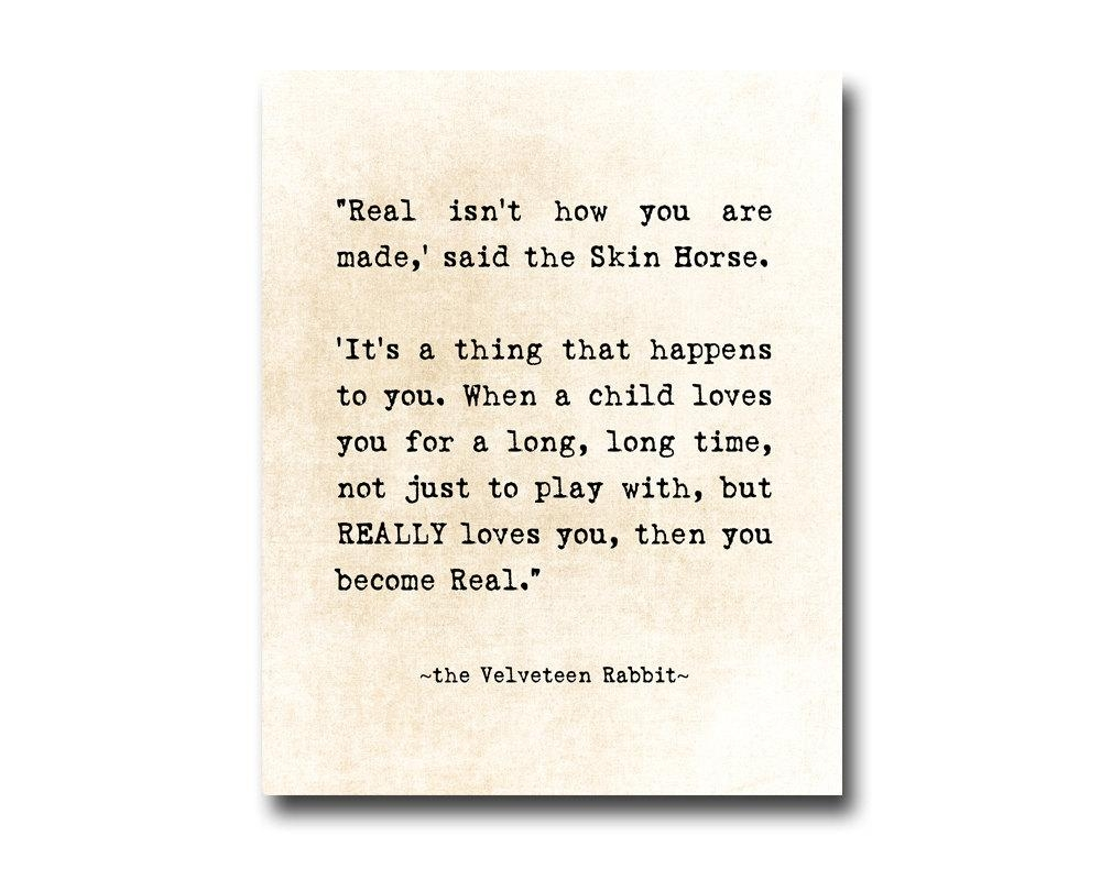 Velveteen Rabbit Quote Margery Williams Literary Print For Velveteen Rabbit Wall Art (Image 13 of 20)