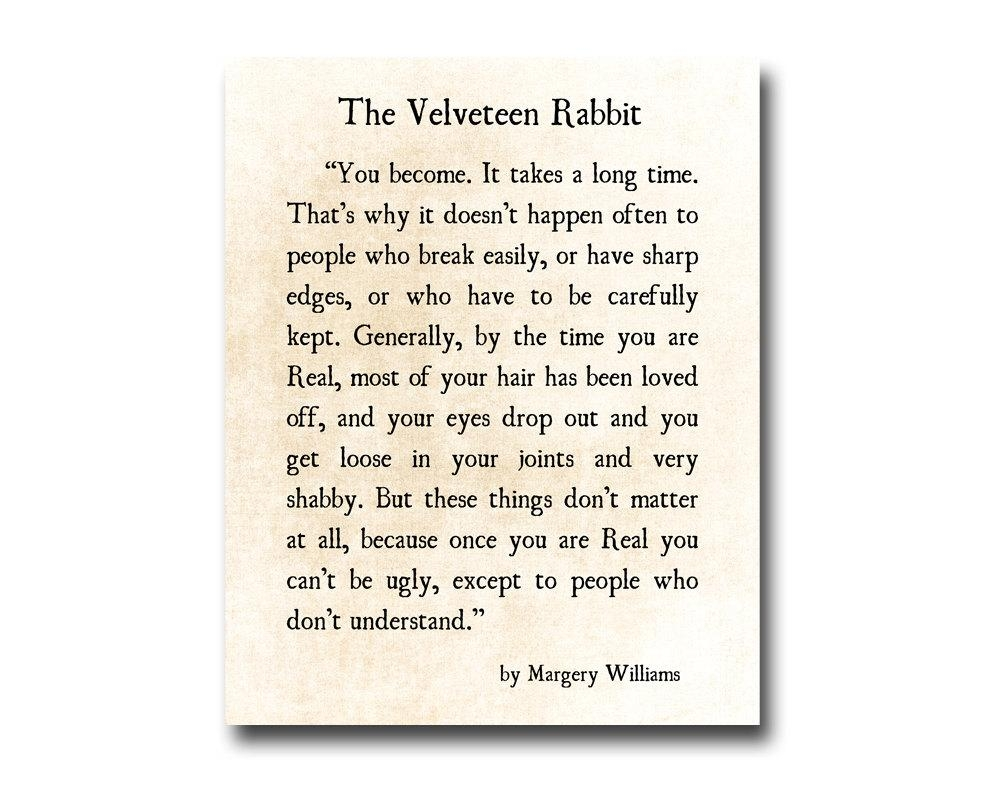 Velveteen Rabbit Quote Margery Williams Literary Print Love Intended For Velveteen Rabbit Wall Art (View 7 of 20)