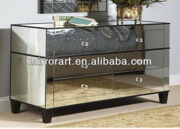 Venetian Design Mirrored Tv Stand With Drawers – Buy Glass Intended For Latest Mirrored Tv Stands (View 17 of 20)