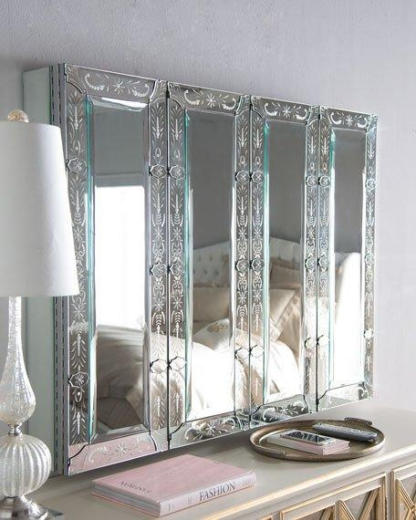 Venetian-Style Mirrored Flat-Screen-Tv Wall Cabinet in Recent Mirror Tv Cabinets