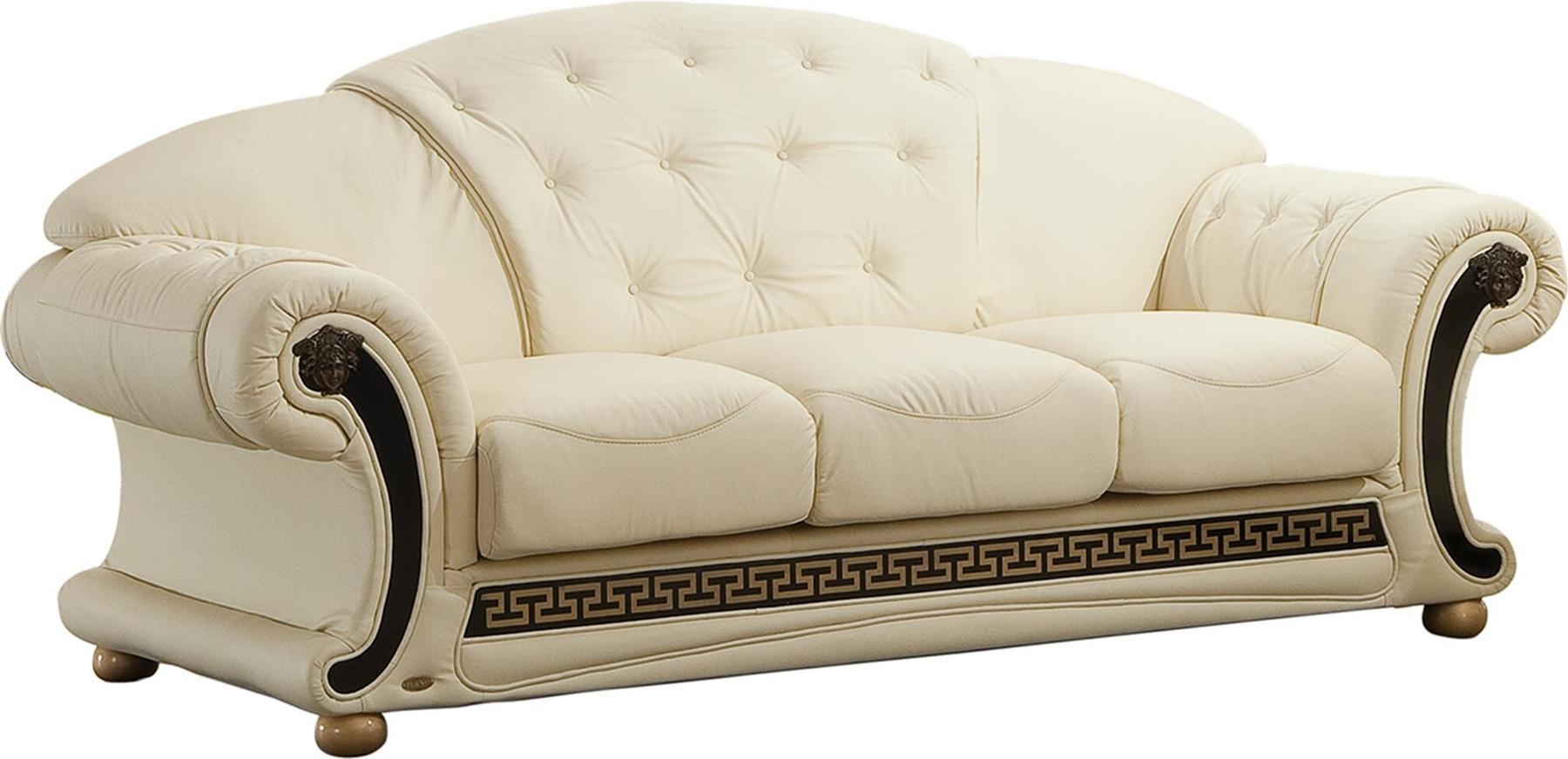 Versace Ivory Sofa Versace Esf Furniture Leather Sofas At Comfyco Intended For Ivory Leather Sofas (Image 18 of 20)