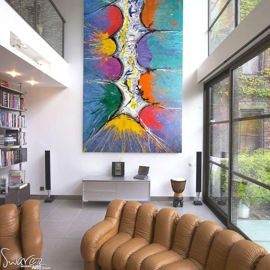Very Big Abstract Canvas Painting | Large Size Multi Coloured Art Throughout Very Large Wall Art (View 15 of 20)