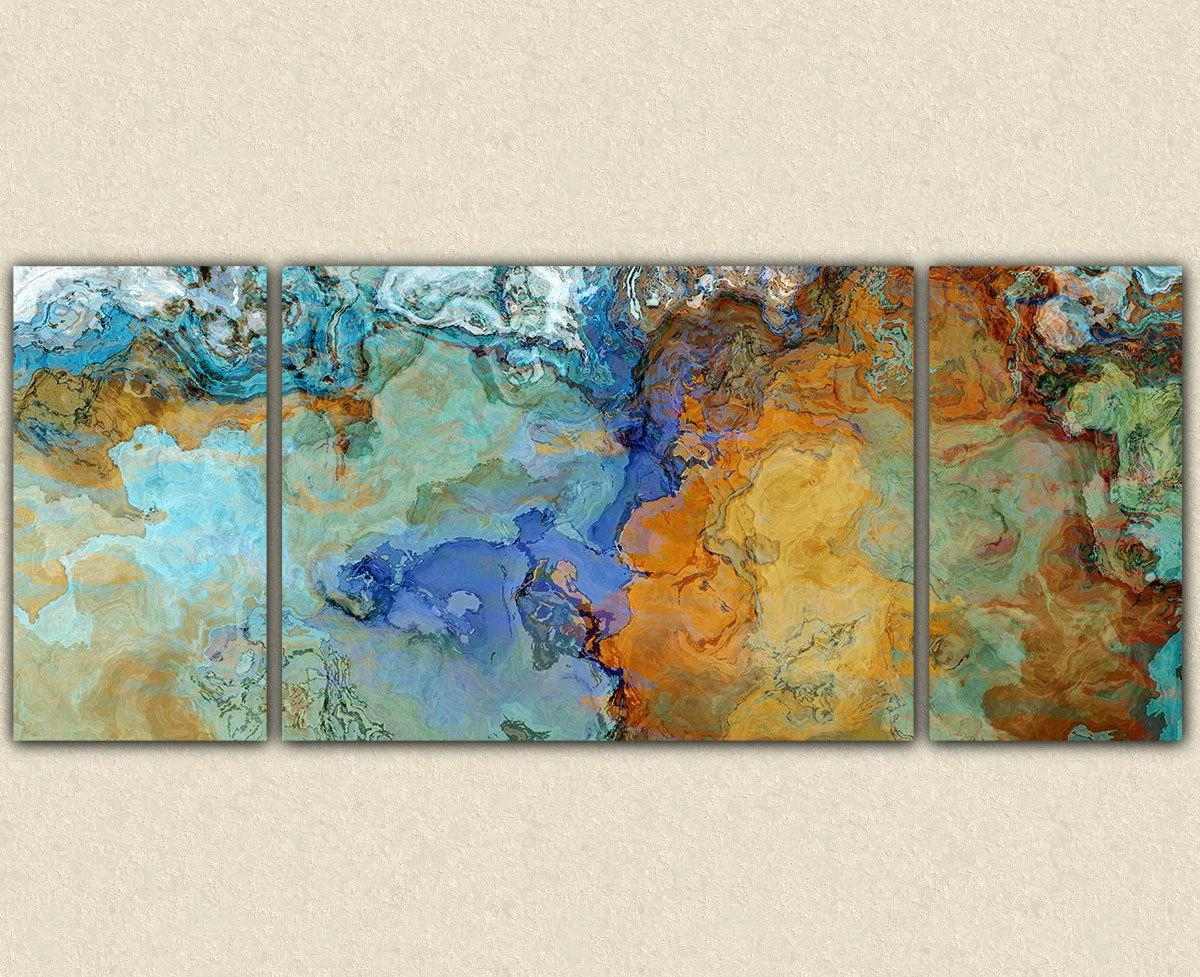 Very Large Abstract Wall Art Canvas Print 30X72 To 40X90 intended for Orange and Blue Wall Art