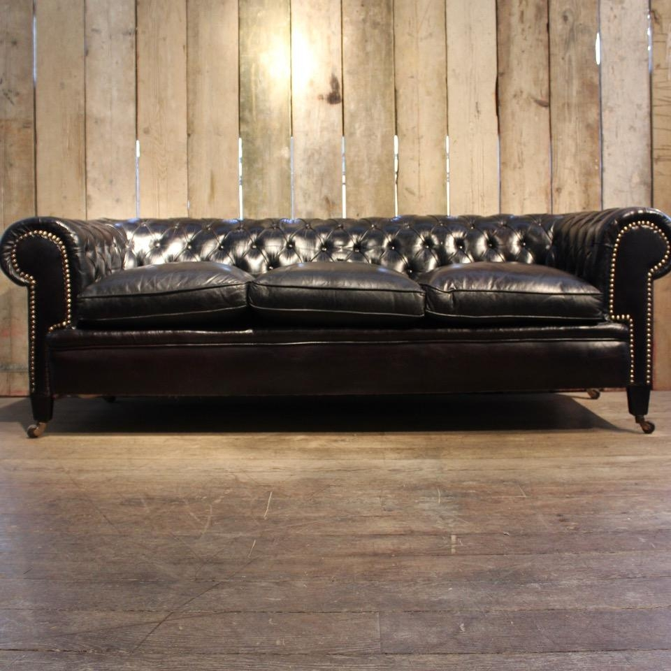 Vintage Black Leather Chesterfield Sofa For Sale At Pamono Inside Chesterfield Black Sofas (View 19 of 20)