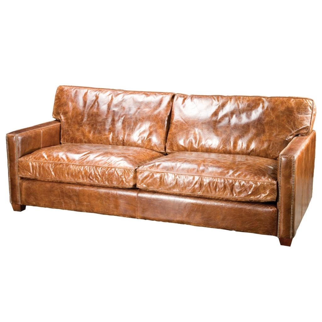 Vintage Brown Small Leather Couch For Small Space | Eva Furniture With Vintage Leather Sofa Beds (Image 15 of 20)