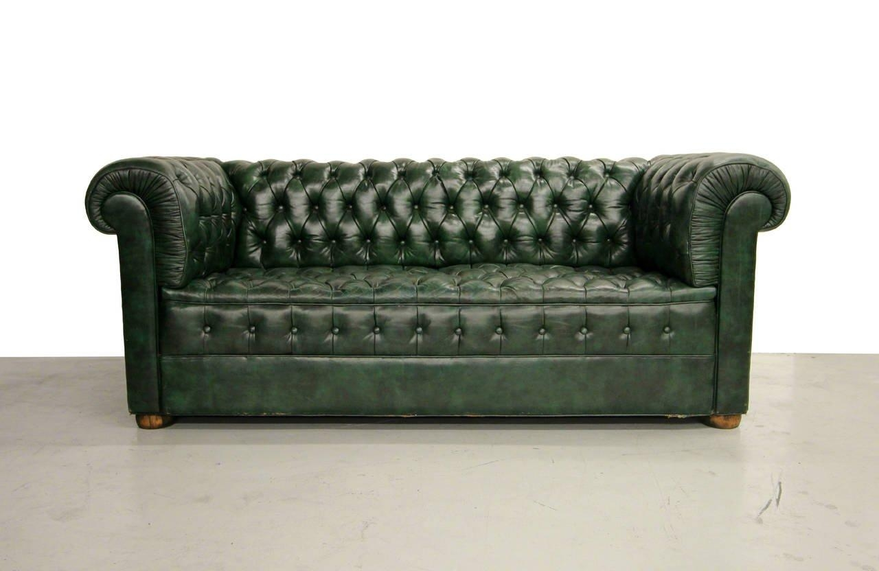 Vintage Green Leather Chesterfield Sofa At 1Stdibs Throughout Chesterfield Black Sofas (View 14 of 20)