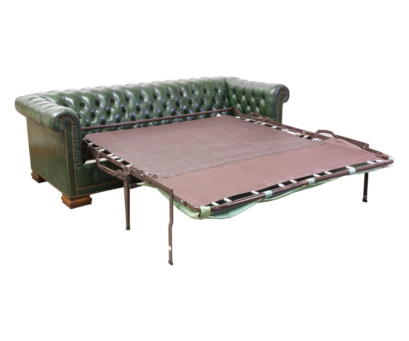 Vintage Green Leather Chesterfield Sofa Bed – Danish Modern L (Image 16 of 20)