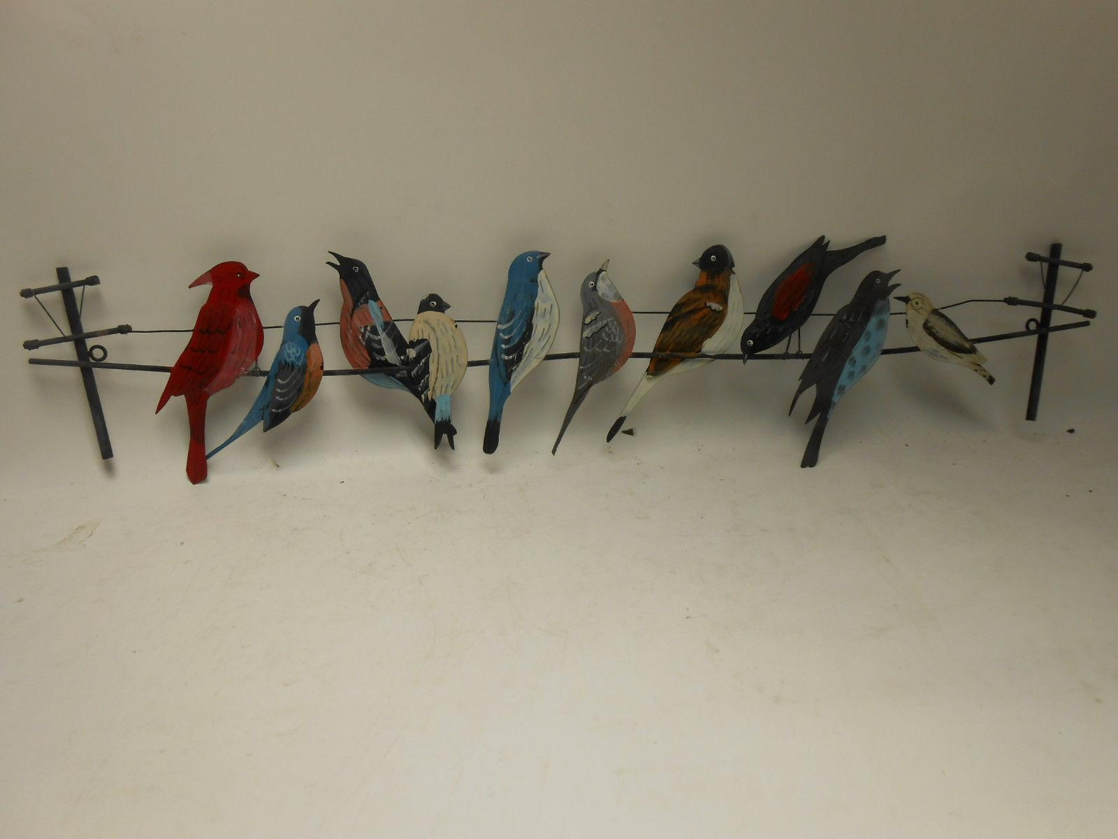 Vintage Handmade Hand Painted Birds On A Wire, Metal Wall Art Regarding Birds On A Wire Wall Art (Image 18 of 20)