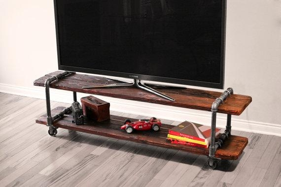 Vintage Industrial Cast Iron Pipe Table Tv Stand inside Most Recent Cast Iron Tv Stands