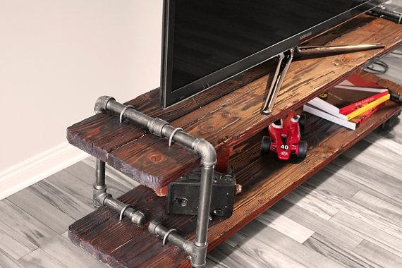 Vintage Industrial Cast Iron Pipe Table Tv Stand pertaining to 2018 Cast Iron Tv Stands
