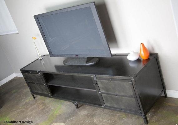 Vintage Industrial Media Console. Rustic Tv Stand (Image 17 of 20)