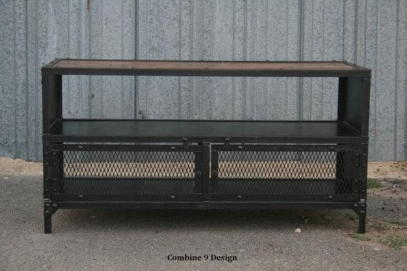 Vintage Industrial Tv Stand. Reclaimed Wood & Steel (Image 18 of 20)