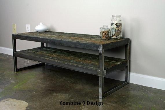 Vintage Industrial Tv Stand. Reclaimed Wood & Steel (Image 19 of 20)
