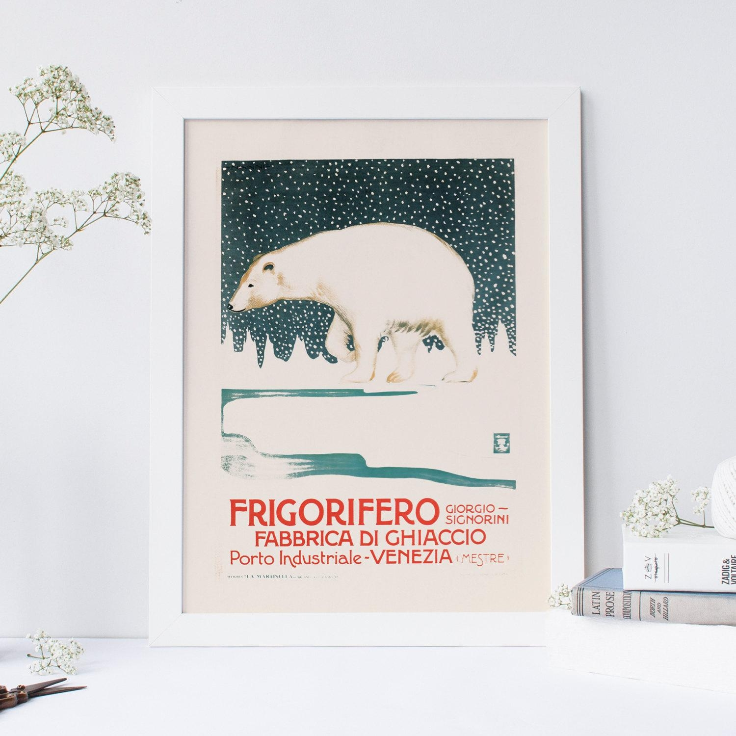 Vintage Italian Poster Polar Bear Art Italian Cafe Style Regarding Italian Cafe Wall Art (Image 17 of 20)