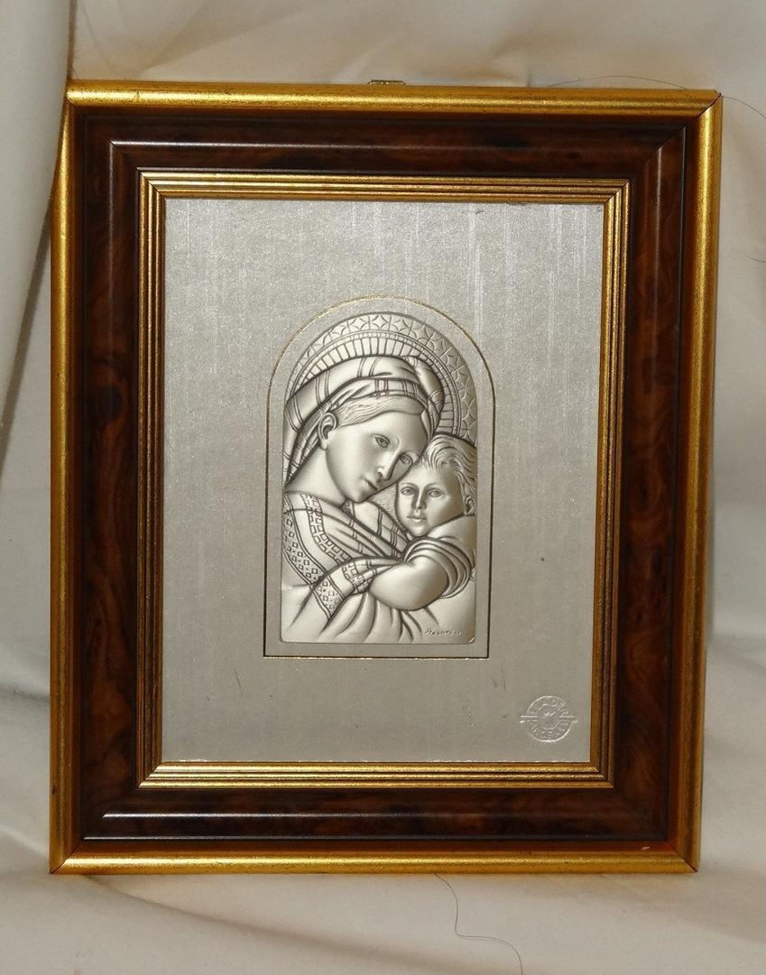 Vintage Italy Sterling Silver Wall Art Picture Christian Plaque Throughout Italian Silver Wall Art (Image 16 of 20)