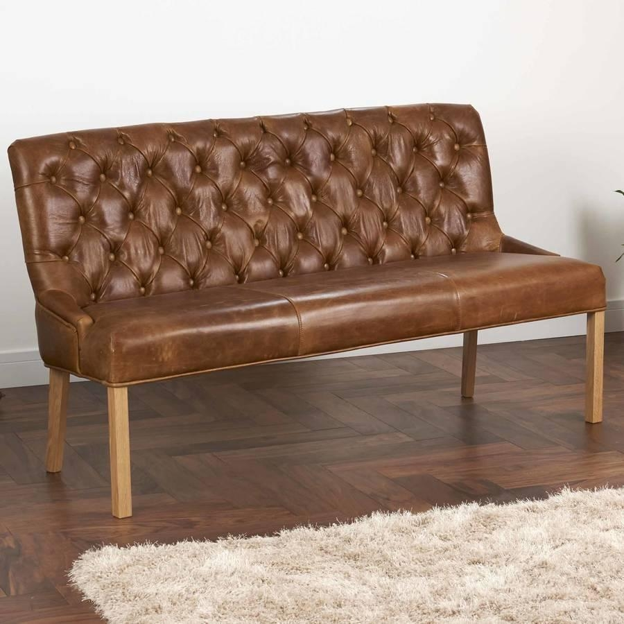 Vintage Leather Or Harris Tweed Buttoned Sofa Benchthe Orchard In Leather Bench Sofas (View 4 of 22)