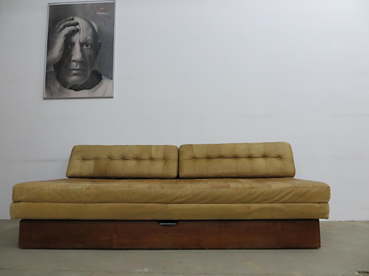 Vintage Leather Sofa Bed For Sale At Pamono Intended For Vintage Leather Sofa Beds (View 7 of 20)