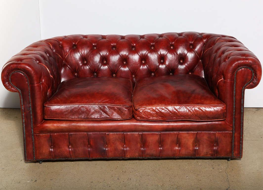 Vintage Look Red Leather Tufted Loveseat Sleeper Sofa With In Vintage Leather Sofa Beds (View 11 of 20)