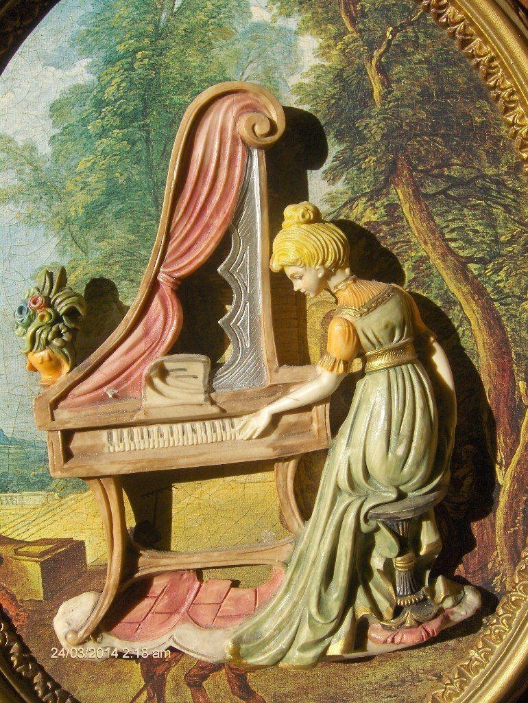 Vintage Wall Picture ,italian Wall Art Girl Playing Piano | In throughout Vintage Italian Wall Art