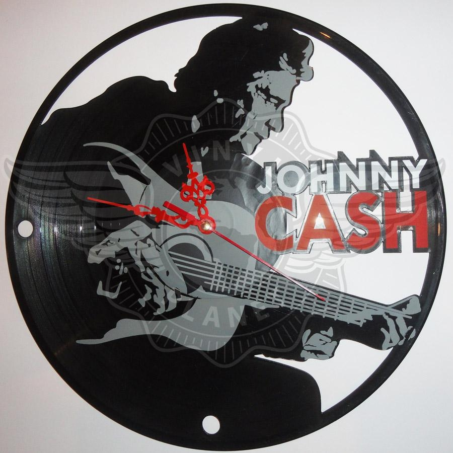 Vinyl Wall Clock Johnny Cash 2 With Regard To Johnny Cash Wall Art (View 20 of 20)