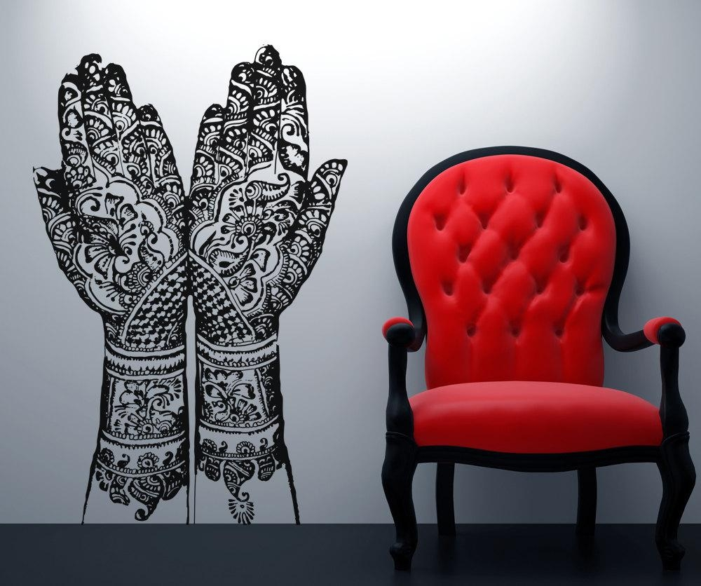 Vinyl Wall Decal Sticker Henna Hands Osaa383S Within Street Wall Art Decals (View 3 of 20)