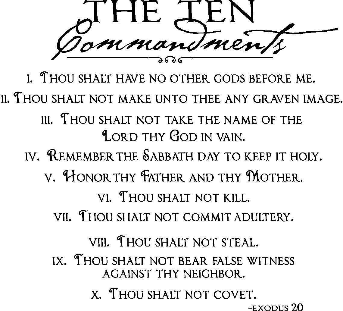 Vinyl Wall Quotes | Ten Commandments Wall Decal Intended For 10 Commandments Wall Art (Image 17 of 20)
