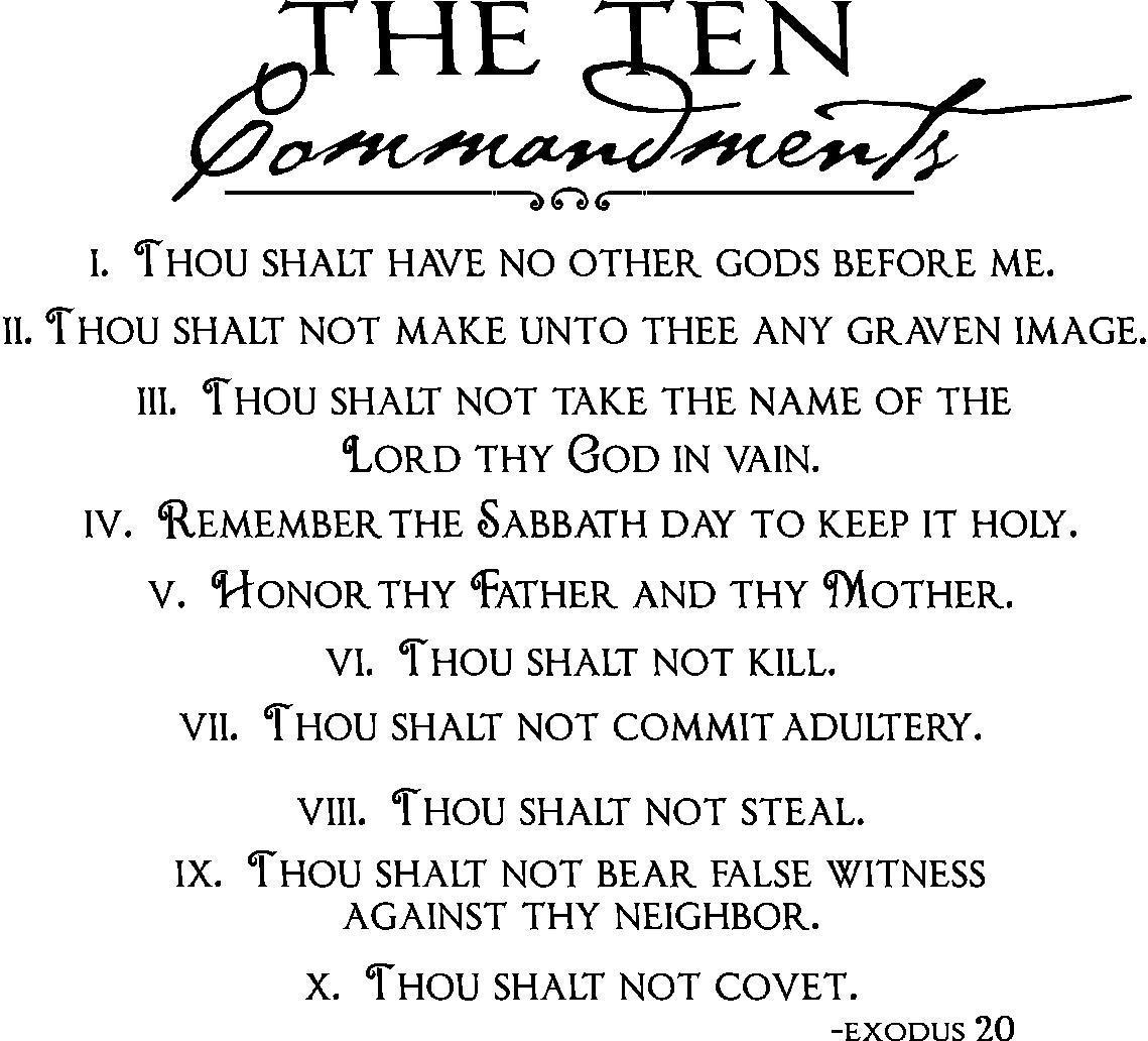 Vinyl Wall Quotes | Ten Commandments Wall Decal Intended For 10 Commandments Wall Art (Image 17 of 20)