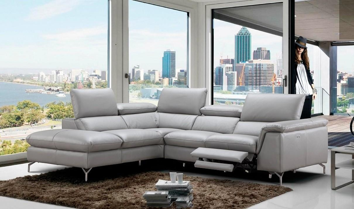 Viola Premium Leather Sectional Sofa In Light Grey | Free Shipping Regarding Gray Leather Sectional Sofas (Image 21 of 21)
