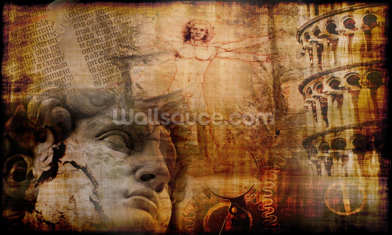 Vitruvian Man, Italian Icons Wallpaper Wall Mural | Wallsauce Usa Within Italian Art Wall Murals (View 3 of 20)
