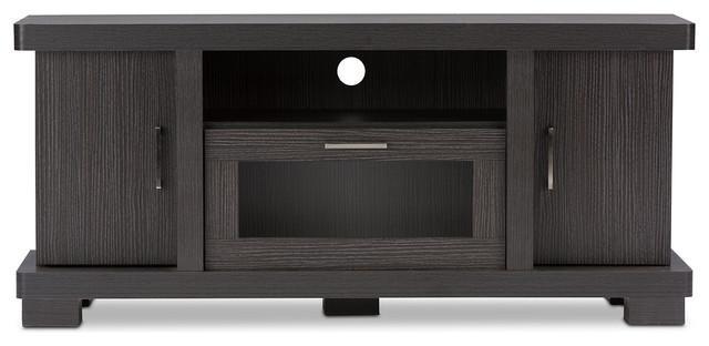 "Viveka Dark Brown Wood Tv Cabinet With 2 Doors, 47"" – Transitional Regarding Newest Dark Wood Tv Cabinets (View 9 of 20)"
