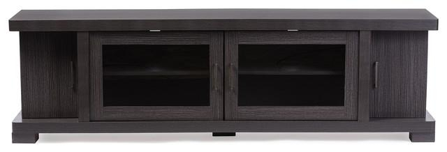 Viveka Dark Brown Wood Tv Cabinet With 2 Glass Doors And 2 Doors inside Most Recent Glass Tv Cabinets With Doors