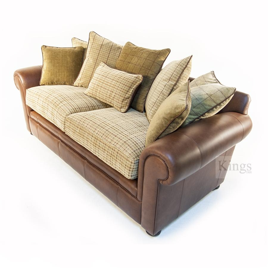 Wade Upholstery Barnaby Small Sofa Leather And Fabric Formal Back Throughout Leather And Material Sofas (Image 21 of 21)