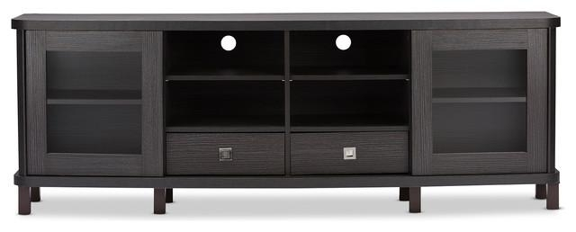 Walda Dark Brown Wood Tv Cabinet With 2 Sliding Doors And 2 In Most Popular Wooden Tv Cabinets (Image 16 of 20)