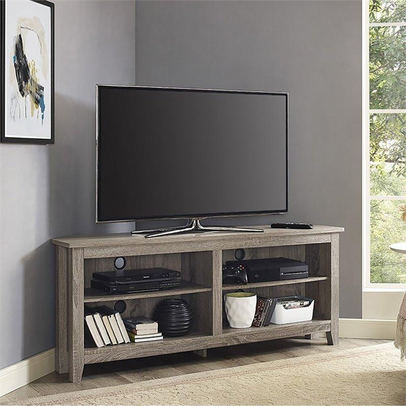 """Walker Edison 58"""" Corner Tv Stand In Driftwood – W58Ccrag In Best And Newest Corner Wooden Tv Stands (View 19 of 20)"""