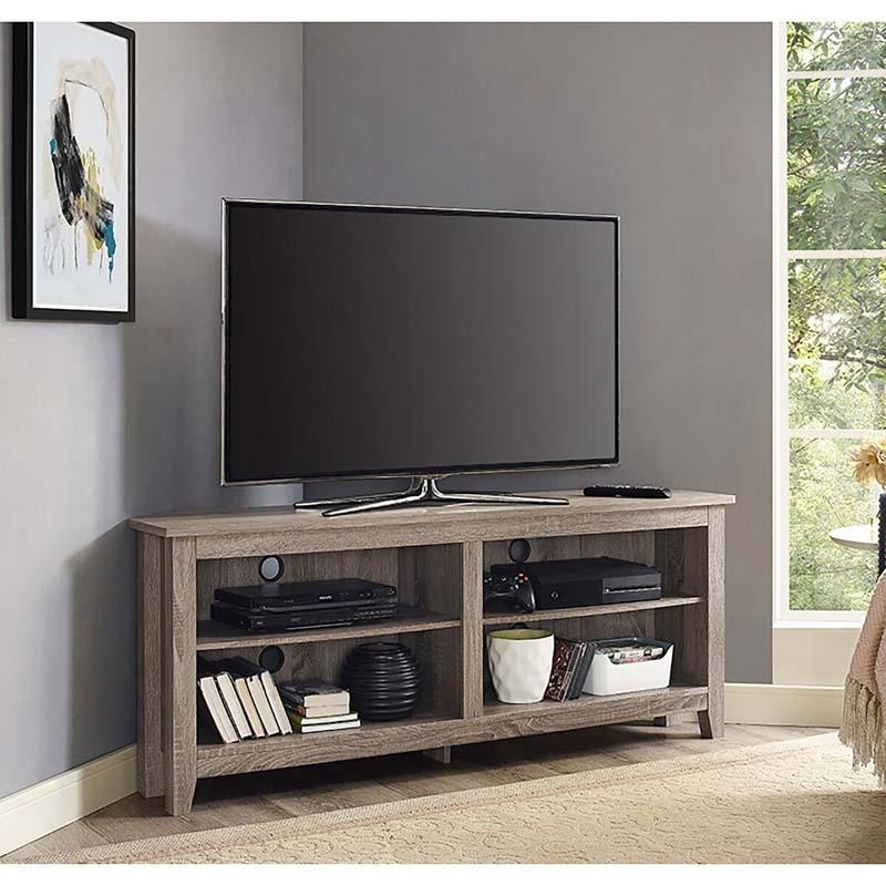 Walker Edison 60 Inch Corner Tv Stand Driftwood W58Ccrag In Latest Corner Tv Stands For 60 Inch Tv (Image 18 of 20)