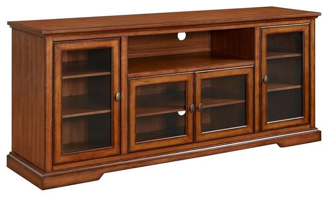"Walker Edison 70"" Highboy Style Tv Stand In Espresso – Traditional In Most Recently Released Hardwood Tv Stands (Image 20 of 20)"