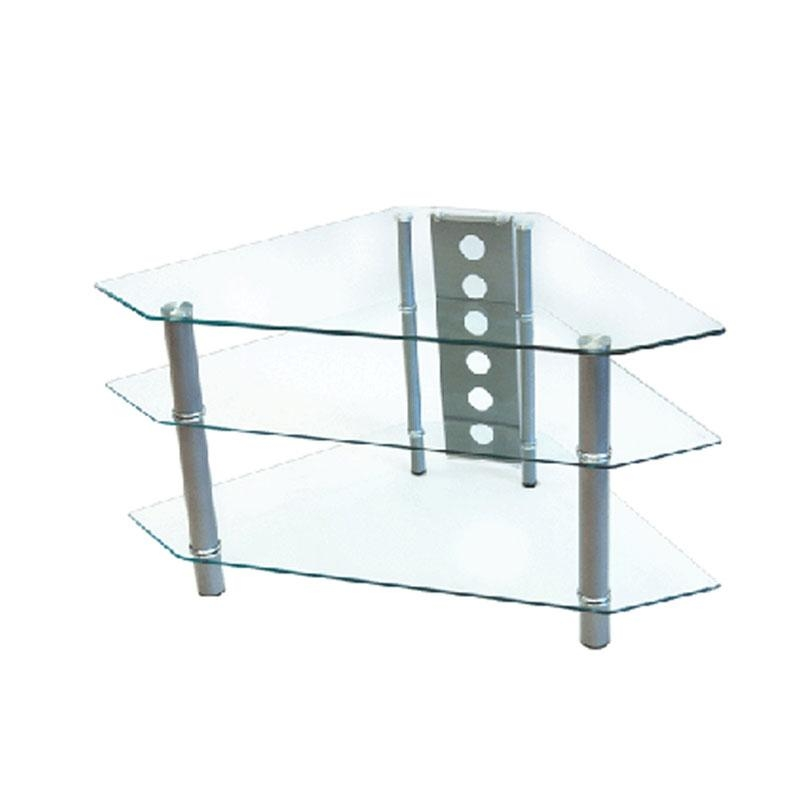 Walker Edison Bermuda 44 Inch Corner Tv Stand Silver V44Y76 For Latest Clear Glass Tv Stand (Image 20 of 20)