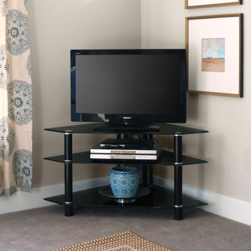 Walker Edison Bermuda Black Glass Corner Tv Stand (Black) V44Y76B With 2018 Black Wood Corner Tv Stands (Image 19 of 20)