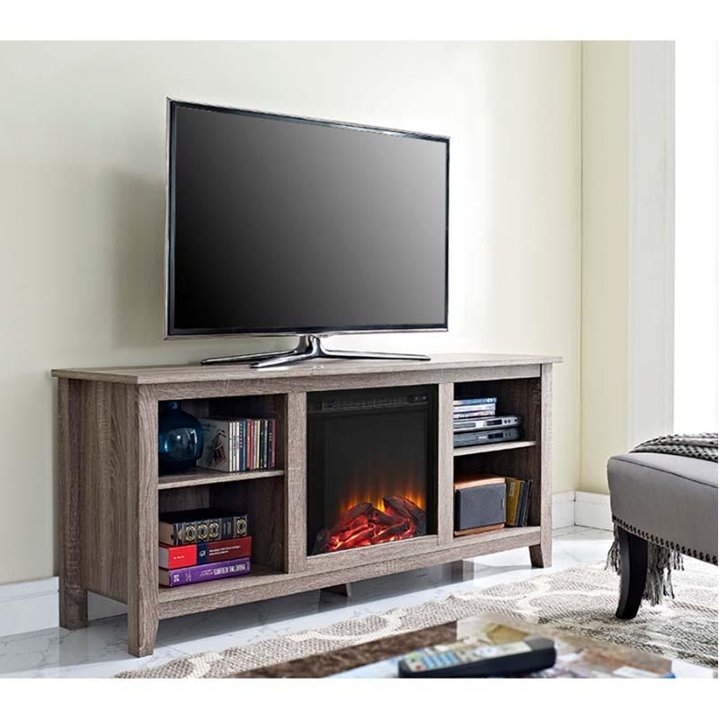Walker Edison Driftwood 60 Inch Tv Stand With Fireplace Insert Ash With Best And Newest 50 Inch Fireplace Tv Stands (Image 20 of 20)